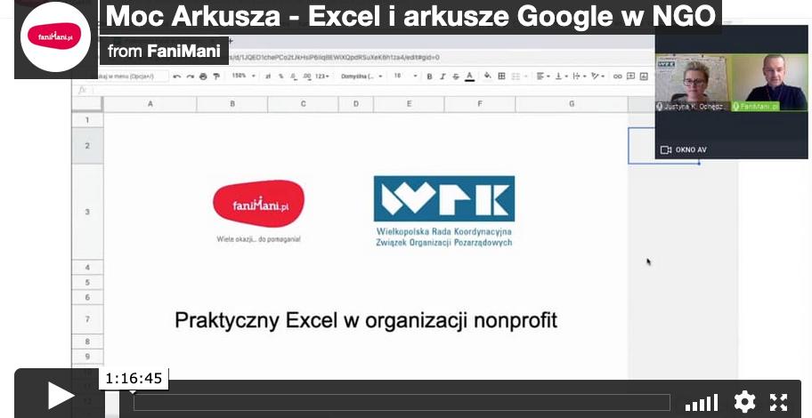 Moc Arkusza - Excel i arkusze Google w NGO